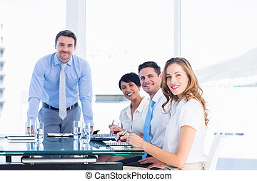 tabela conferência, ao redor, escritório, executivos