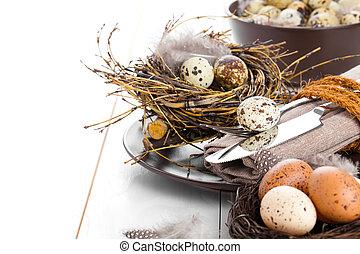 tabela, decoração, branco, madeira, fundo, com, codorniz, ovos