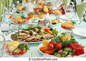 tabela, em, restaurante