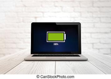 tabela, energia, cheio, computador