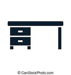 tabela, escrivaninha, ícone, local trabalho, desktop