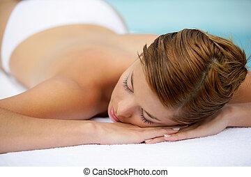tabela, esperando, mulher, deitando, massagem