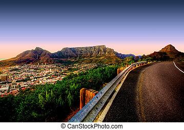 tabela, estrada, montanha