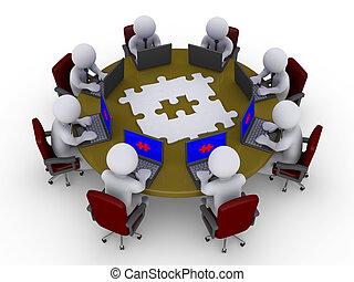 tabela, homens negócios, solução, ao redor, procurar