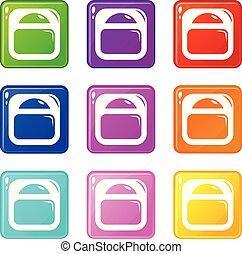 tabela, ikony, kolor, zbiór, komplet, 9