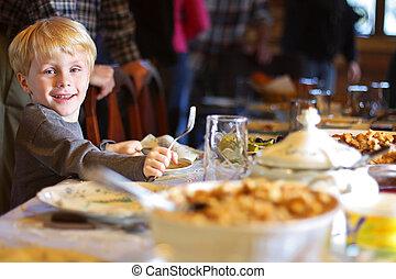 tabela, jantar, criança, feriado, sentando