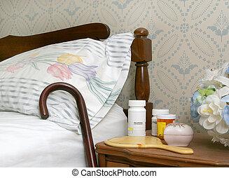 tabela, lado cama, pílulas