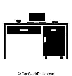 tabela, laptop, ícone, negócio, estilo, vetorial, ilustração, cor, desktop, imagem, material, pretas, assalte, telefone, apartamento, chá