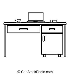 tabela, laptop, ícone, negócio, estilo, vetorial, ilustração, cor, desktop, imagem, material, pretas, assalte, telefone, apartamento, esboço, chá