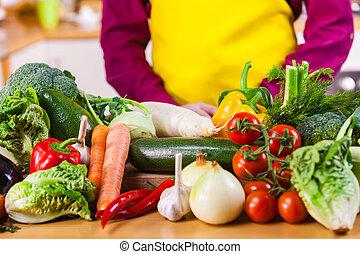 tabela, legumes, cima fim
