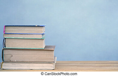 tabela, livros, pilha