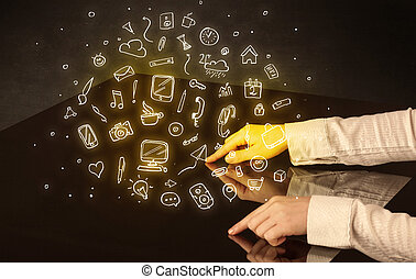 tabela, mãos, tocar, interativo
