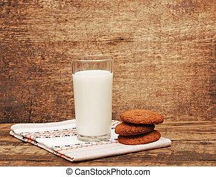 tabela madeira, biscoitos, leite, fresco