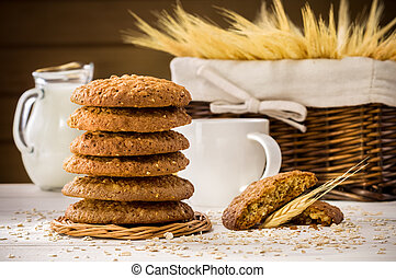 tabela madeira, biscoitos, oatmeal