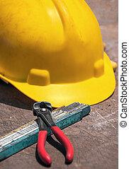 tabela madeira, construção, ferramentas