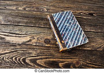 tabela madeira, envelhecido, livro