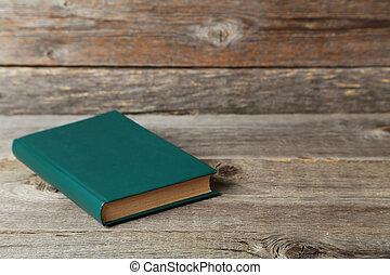 tabela madeira, livro, antigas, cinzento