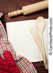 tabela madeira, livro, receita, em branco