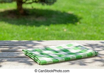 tabela madeira, toalha de mesa, jardim, vazio