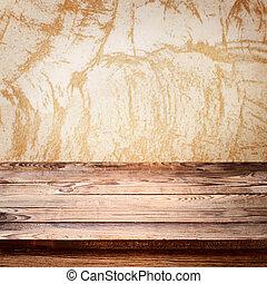 tabela madeira, toalha de mesa, vazio, convés