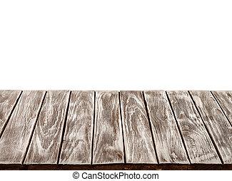 tabela madeira, topo, vazio