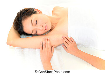 tabela massagem, mulher, jovem, mentindo