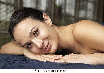 tabela massagem, mulher, jovem, relaxante