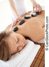tabela massagem, mulher, pacata, mentindo