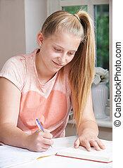 tabela, menina adolescente, dever casa