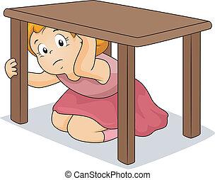 tabela, menina, escondendo, sob