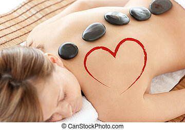 tabela, mentindo, imagem, composto, mulher, luminoso, massagem