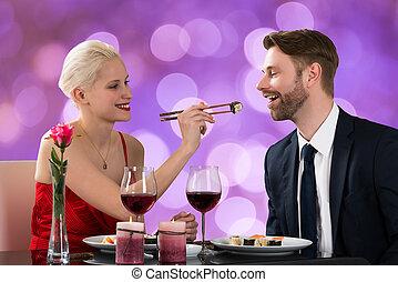 tabela, mulher, alimentação, homem, restaurante