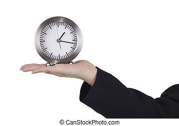 tabela, mulher, apresentando, relógio