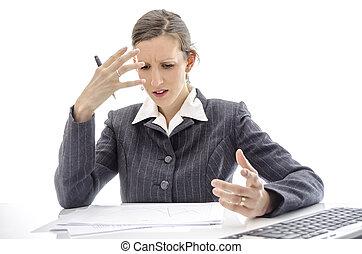 tabela, mulher, frustrado, escritório