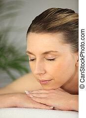 tabela, mulher, massagem, relaxante