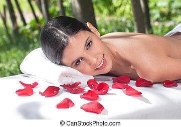 tabela, mulher, massagem, retrato