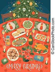 tabela., natal, ilustração, feliz, ano, festivo, novo, refeição