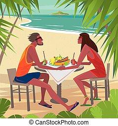 tabela, par, praia, comendo desjejum