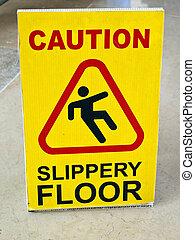 tabela, para, um, risco, de, escorregadio, chão