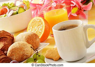 tabela, pequeno almoço, composição
