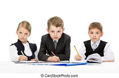 tabela, pequeno, grupo, pessoas negócio