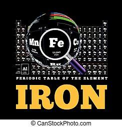 tabela periódica, de, a, element., ferro, fe