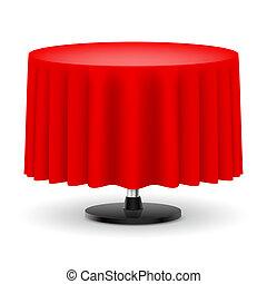 tabela redonda, com, vermelho, cloth.