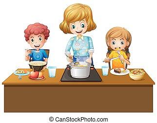 tabela, refeição, família, tendo