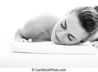 tabela, relaxado, mulher, jovem, massagem