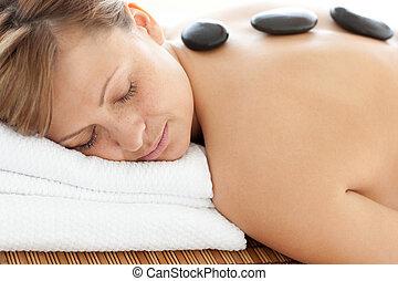 tabela, relaxado, mulher, massagem, mentindo