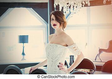 tabela, sala, mulher bonita, ficar, luz, luxo, jovem