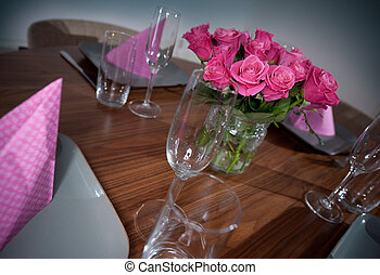 tabela, servindo, modernos, redondo
