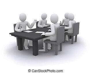 tabela, trabalhando, pessoas, negócio, sentando