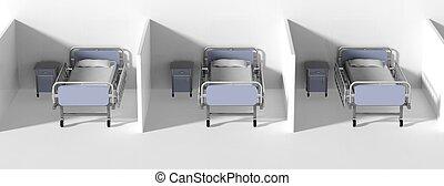 tabelas, camas hospital, lado cama, cubical, fila